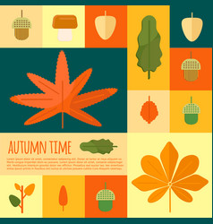 autumn foliage in flat styl vector image