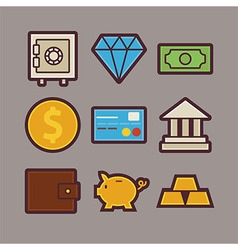 Bank and Money Items Modern Flat Icons Set vector image