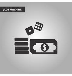 black and white style Money dice chips vector image
