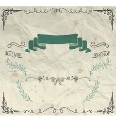 Card with Hand Sketched Elements on Crumpled Paper vector image