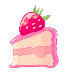 Cartoon icon of a slice of strawberry sponge cake vector