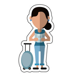 Cartoon woman looking map baggage travel vector