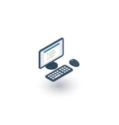 Computer desktop isometric flat icon 3d vector