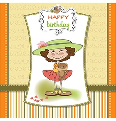 cute birthday greeting card with girl and her vector image vector image