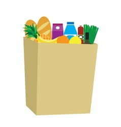 Food in a paper bag vector image