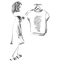 Hand drawn wardrobe sketch girl in the showroom vector
