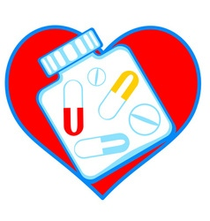 Heart and tablets vector