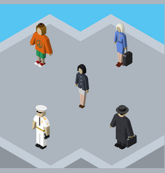 isometric human set of lady seaman girl and vector image
