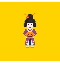 Japanese geisha character for halloween in a flat vector