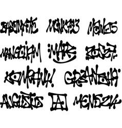 Liquid black graffiti tags collection over white vector