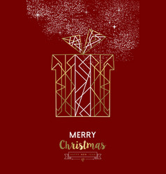merry christmas new year gift outline gold deco vector image vector image
