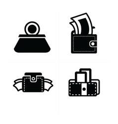 Money in wallet set icon vector