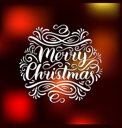 Ornate merry christmas lettering on blurred vector