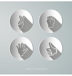 paper icons hands vector image vector image