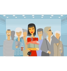 People in the elevator vector image