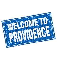 Providence blue square grunge welcome to stamp vector
