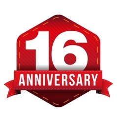 Sixteen year anniversary badge with red ribbon vector