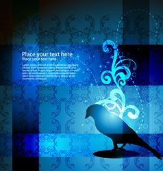 Stylish elegant bird floral design vector
