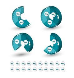 three dimensional circle gear chart vector image vector image