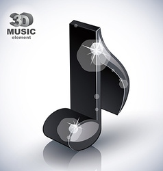 Trendy slim musical note 3d modern style icon vector