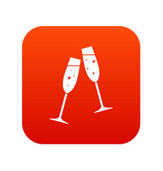 two glasses of champagne icon digital red vector image
