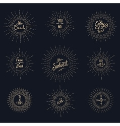 Vintage sunburst hipster logo elements vector image vector image