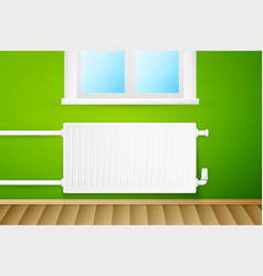White realistic heating radiator vector