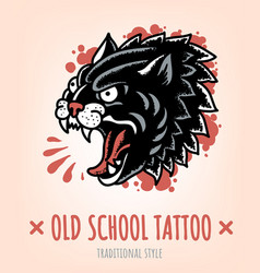wild cat old school tattoo traditional style vector image vector image