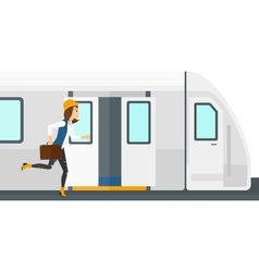 Woman missing train vector image vector image