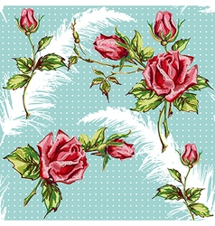 Rose pattern with plume vector