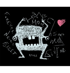 Scribble doodle scary monster on black vector image