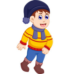 Funny little boy cartoon wearing winter clothes vector