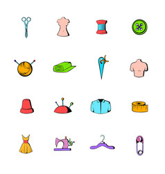 Tailor elements icons set cartoon vector
