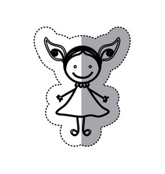 sticker sketch silhouette caricature girl with vector image