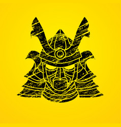 Samurai mask samurai helmet head weapon vector