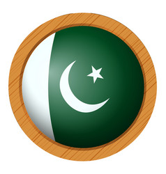 pakistan flag on round badge vector image
