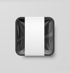 empty black plastic food square container with vector image