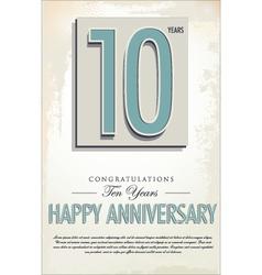 10 years anniversary retro background vector
