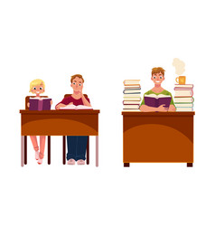 People couple and man reading books in library vector