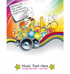 Rainbow music event flyer vector