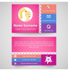 Bright pretty business card set template vector image