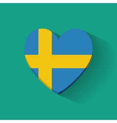 Heart-shaped icon with flag of sweden vector