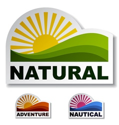 Natural adventure nautical stickers vector