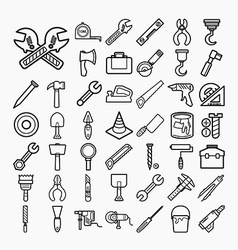 Tools and equipment icons set on white background vector