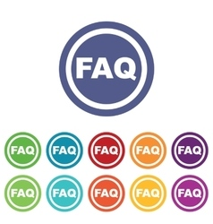Faq signs colored set vector