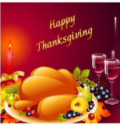 thanksgiving background with turkey vector image