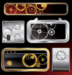Web elements collection with gears and volume knob vector