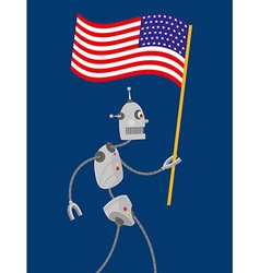 Robot with american flag vector