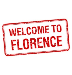 Welcome to florence red grunge square stamp vector