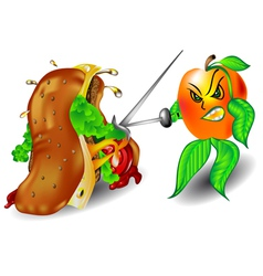 Apple and sandwich vector image vector image